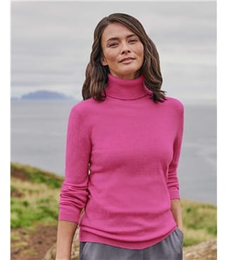 Cashmere and Merino Fitted Polo Neck Knitted Jumper