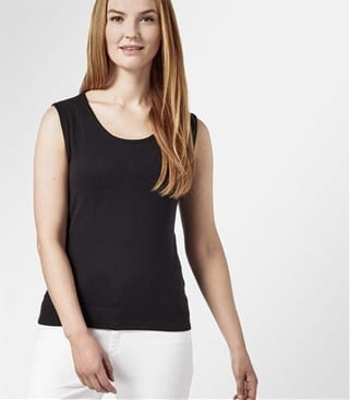 Womens Silk and Cotton Scoop Neck Sleeveless Jumper