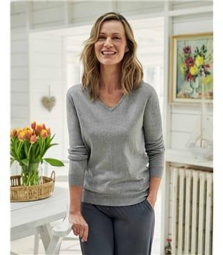 Cashmere & Cotton V Neck Sweater