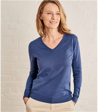 Womens Cashmere and Cotton V Neck Jumper