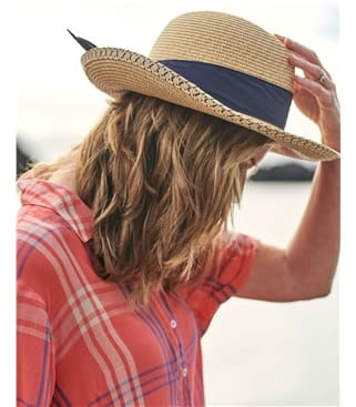 Straw Fedora Hat with Tied Bow at Back