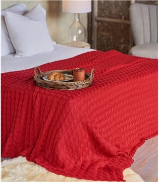 Pure Wool Chunky Cable Throw 1size Red