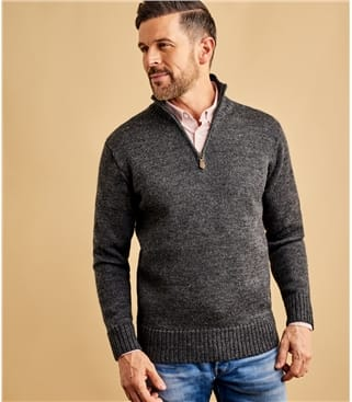 Mens Pure Wool Country Zip Neck Jumper
