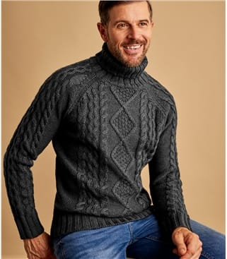 Mens Pure Wool Aran Turtle Neck Sweater