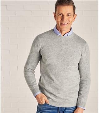 Pullover mit Rundhalsausschnitt aus Merino- und Kaschmirwolle für Herren