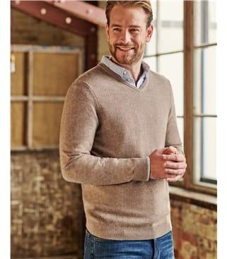 Pullover mit V-Ausschnitt aus Merinowolle und Kaschmir für Herren