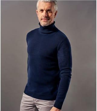 Mens Pure Cashmere Turtle Neck Sweater