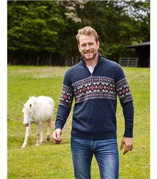 Pullover aus Lammwolle mit Fair Isle-Muster und kurzem Reißverschluss