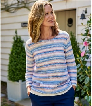 Womens Cotton Fancy Stitch Jumper