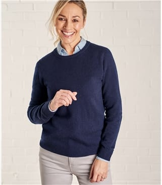06db0331516f63 French Navy | Womens Cashmere & Cotton V Neck Jumper | WoolOvers AU