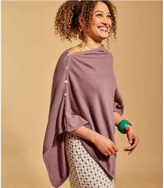 Womens Cashmere and Merino Button Poncho