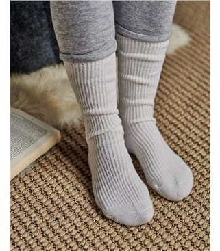 Womens Cashmere and Merino Socks 1size Cream
