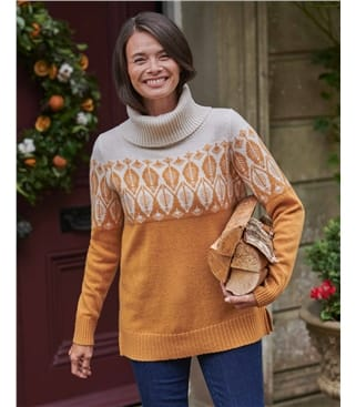 Lambswool Leaf Patterned Cowl Neck Sweater