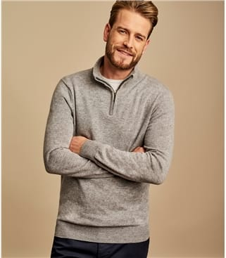 Cashmere and Merino Zip Neck Sweater