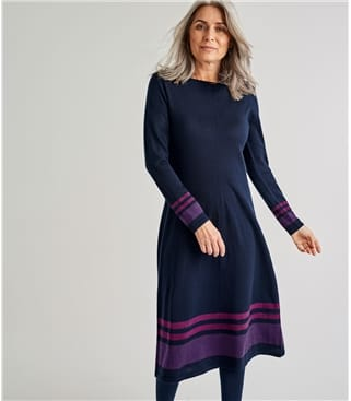 Womens Merino Striped Hem Dress