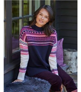 Reverse Color Fairisle Yoke Sweater