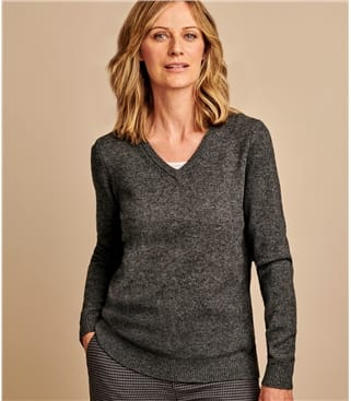 Pullover mit V-Ausschnitt aus Lammwolle für Damen