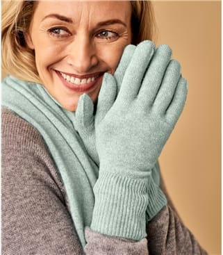 Womens Classic Cashmere & Merino Gloves 1size Cool Mint