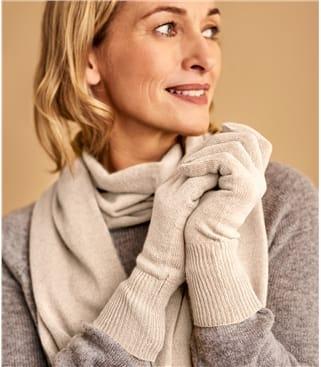 Womens Classic Cashmere & Merino Gloves 1size Cream
