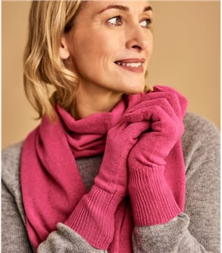 Womens Classic Cashmere & Merino Gloves 1size Pink Rouge