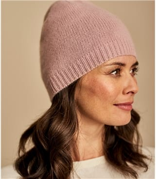 Womens Premium Pure Cashmere Hat 1size Pink/Nude