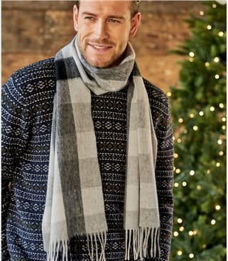 Mens Pure Wool Checked Scarf