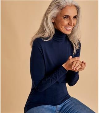 Jersey Rollkragen-Top aus Viskose mit geringem Elastananteil für Damen