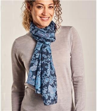Womens Floral Silk Scarf