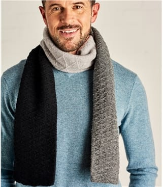 Mens Lambswool Colourblock Scarf