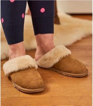 Mules bordées de laine - Femme - Peau de mouton