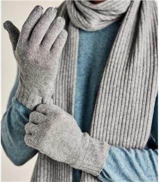 Handschuhe mit gerippten Bündchen aus Kaschmir für Herren