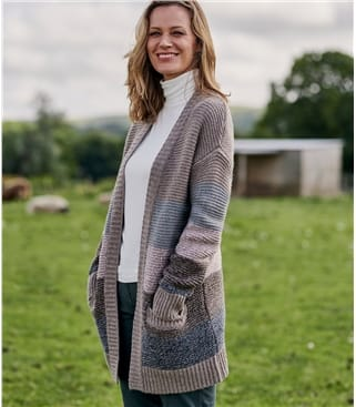 Womens Lambswool Colour Block Cardigan