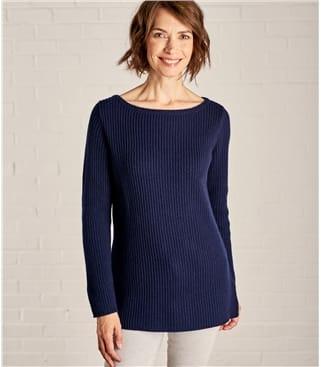Gerippter Pullover mit U-Bootausschnitt aus Merino- und Kaschmirwolle für Damen