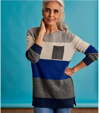 Womens Stripe Colour Block Jumper