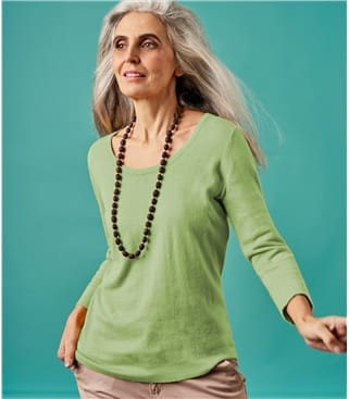Pullover mit U-Boot Ausschnitt aus Kaschmir und Baumwolle für Damen