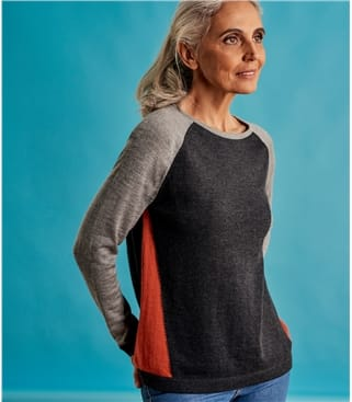 Womens Sporty Colourblock Sweater