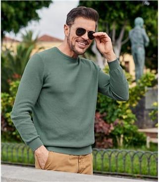 Pull texturé à col rond - Homme - Pur Coton