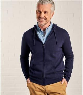 Cardigan zippé à capuche - Homme - Coton peigné