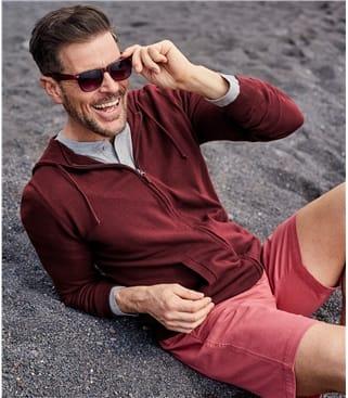 Kapuzenstrickjacke mit Reißverschluss aus Baumwolle für Herren