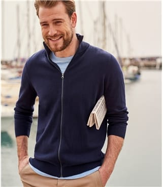 Mens Combed Cotton Zip Through Cardi