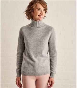 Rollkragenpullover aus Lammwolle für Damen