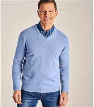 Мужской шерстяной пуловер из натуральной шерсти ягненка
