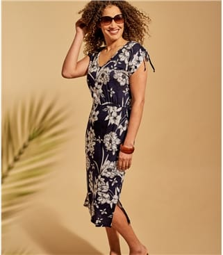 Kleid mit Kordelzug aus Leinen für Damen
