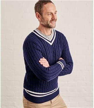 Pullover im Cricket-Stil aus Baumwolle für Herren