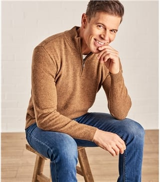 Click to view product details and reviews for Mens Lambswool Zip Neck Jumper L Tawny.
