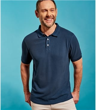 Mens Washed Pique Polo Shirt