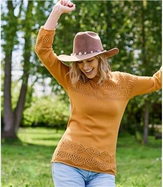 Pull à maille pointelle fantaisie - femme - Pur coton