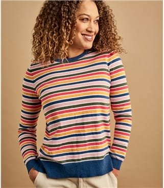 Womens Cotton & Cashmere Blend Multi Stripe Jumper