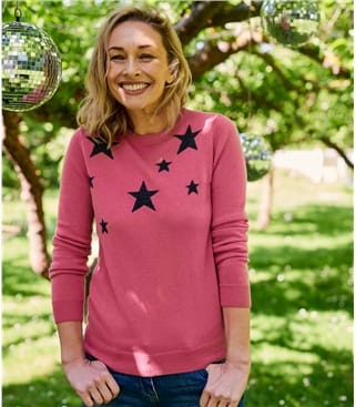 Womens Star Crew Neck Sweater