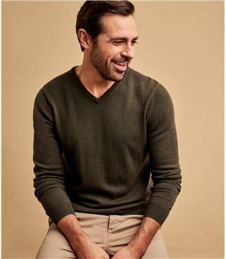 Pullover mit V-Ausschnitt aus Merino- und Kaschmirwolle für Herren